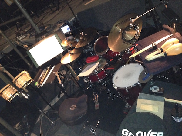 Brian O'Neill's drumset setup with north shore music theatre